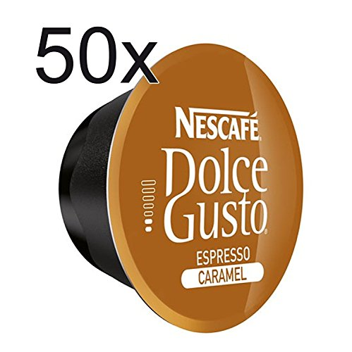 50 X Nescafe Dolce Gusto Coffee Capsules - Espresso Caramel Coffee Capsules
