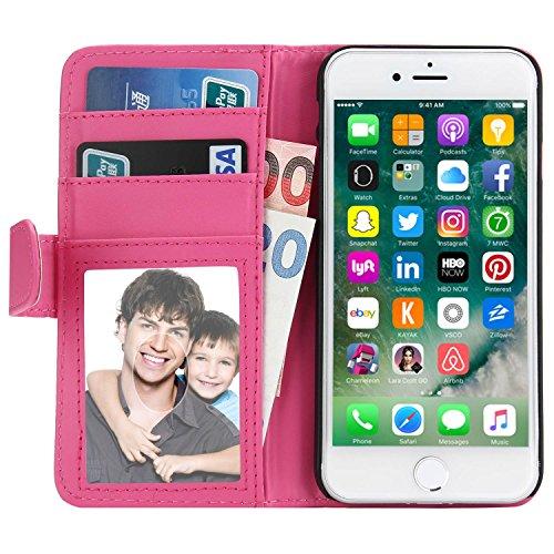 iPhone 7 Hülle, EnGive Ledertasche Schutzhülle Case Tasche mit Standfunktion und Karte Halter Für iPhone 7 (rosa)