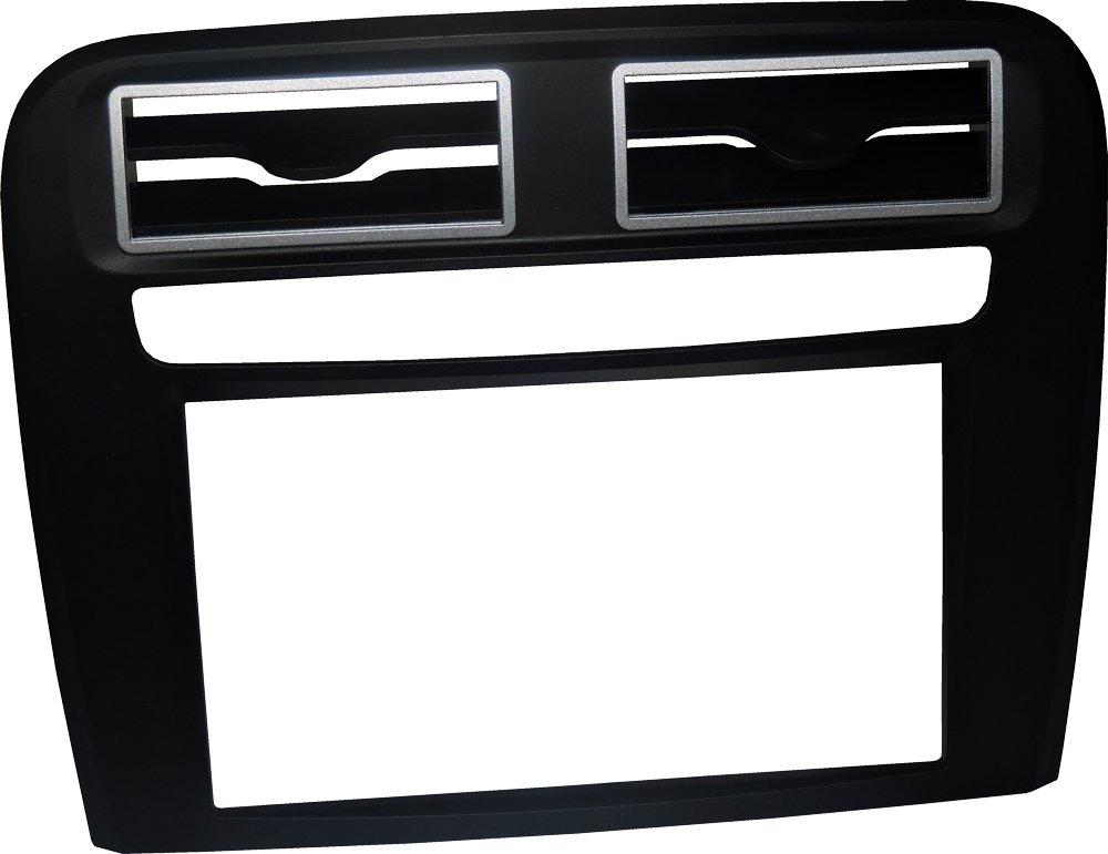 Mascherina autoradio 2 DIN Kit installazione DOPPIO DIN completo di staffe per il montaggio, PURO senza cornice adatto per radio con monitor motorizzato. Colore mascherina: NERO Opaco. Consulta la sezione 'DESCRIZIONE' per vedere la compatibilità de