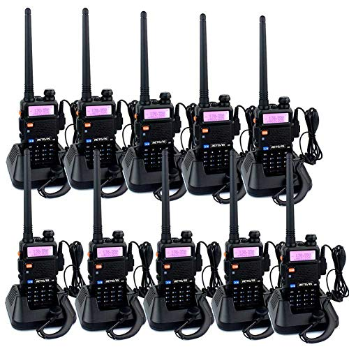 Eclipse 2 Way Radio - Retevis RT-5R Dual Band Two Way Radios Rechargeable Long Range Walkie Talkies with Original Headsets (10 Pack)