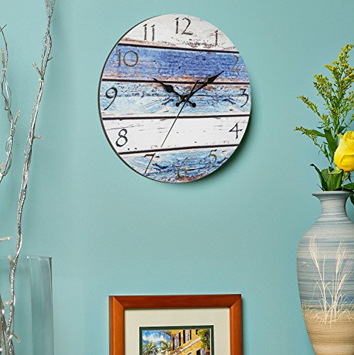 """Bernhard Products Rustic Beach Wall Clock 12"""" Round, Silent Non Ticking - Battery Operated, Fiberboard Wooden Look, Vintage Shabby Beachy Ocean Paint Boards Nautical Decorative Clock"""