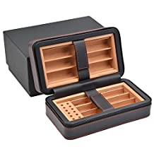 Volenx Portable Cigar Travel Leather Humidor for 6 Fingers Holder Cedar Wood Lined Gift Box