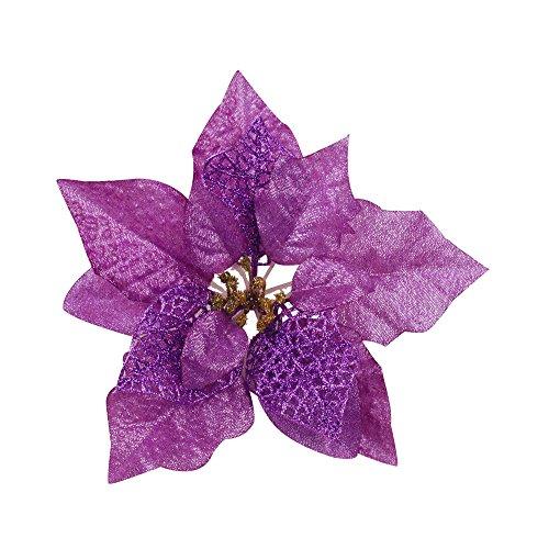 Ornerx 15 Pcs Glitter Poinsettia Flower Christmas Tree Ornament Purple 9