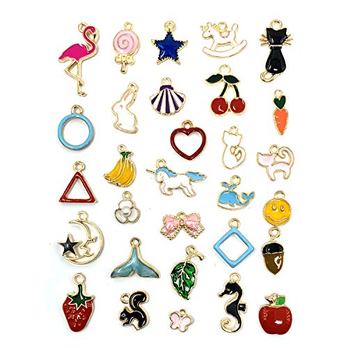 - JIALEEY 30PCS Assorted Gold Plated Enamel Animal Moon Star Charm Pendant DIY for Necklace Bracelet Jewelry Making and Crafting
