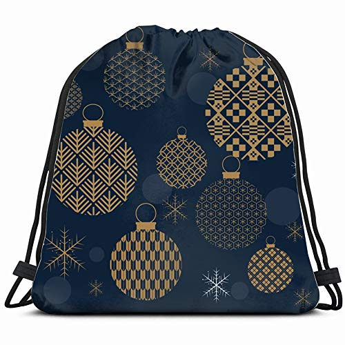 - christmas ball snowflakes template cardmiscellaneous Drawstring Bag for Women Drawstring Hiking Backpack Gym Bag for Women 17X14 Inch