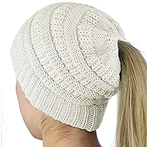 ALIPAPA BeanieTail Womens Ponytail Messy Bun Beanie Solid Ribbed Hat Cap