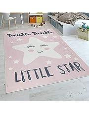 Paco Home Alfombra Habitación Infantil Niña Lavable Estrella Adorable Frase Rosa Blanco, tamaño:120x160 cm
