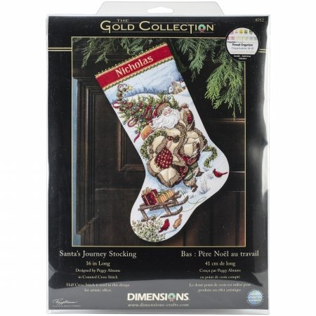 Dimensions 8752 Gold Collection Santas Journey Stocking Counted Cross Stitc-16 Long 18 Count
