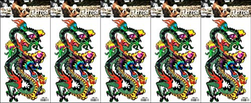 PP TATTOO 5 Sheets Beautiful Tattoos Temporary Tattoo Body Art 3D Green Dragon Spit fire Fighting Animal Tattoo Sticker for Man Women Fake Tattoos Fashionable Stickers -
