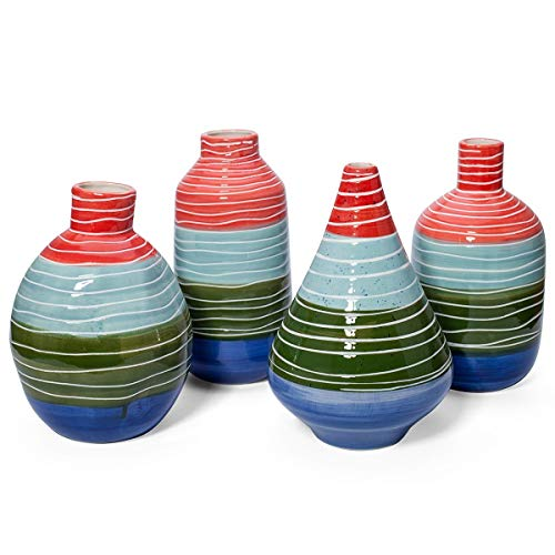 CC Home Furnishings Set of 4 Red and Green Striped Vases Tabletop Decors 11