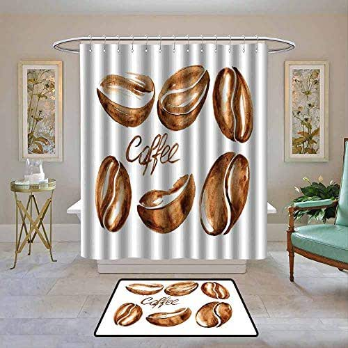 Kenneth Camilla01 Home Decor Shower Curtain by Coffee,Watercolor Effect Beans Breakfast Drink Brush Strokes Pattern Abstract Artistic,Caramel White,Fabric Bath Curtain Bathroom Decor 55
