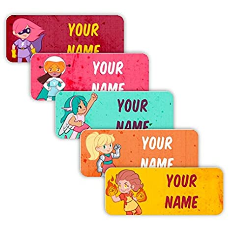 Use for Office Kids Original Personalized Peel and Stick Waterproof Custom Name Tag Labels for Adults Rainbow Palette Theme and Babies School or Daycare Toddlers