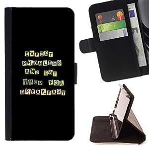 BullDog Case - FOR/Sony Xperia Z1 L39 / - / Funny Except Problems & Eat Them /- Monedero de cuero de la PU Llevar cubierta de la caja con el ID Credit Card Slots Flip funda de cuer