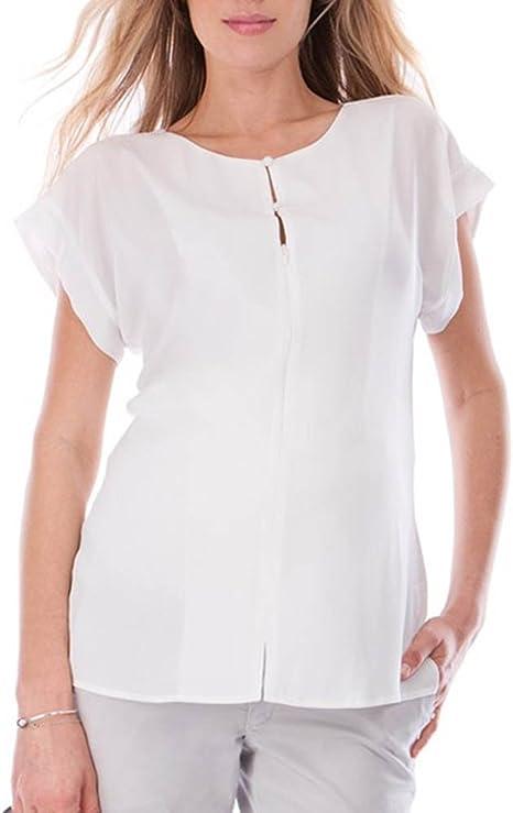 juqilu Casual Manga Corta Mujer Camisas de Maternidad Cremallera Blusa Embarazada enfermería Lactancia Camisa Blanca 2XL: Amazon.es: Ropa y accesorios