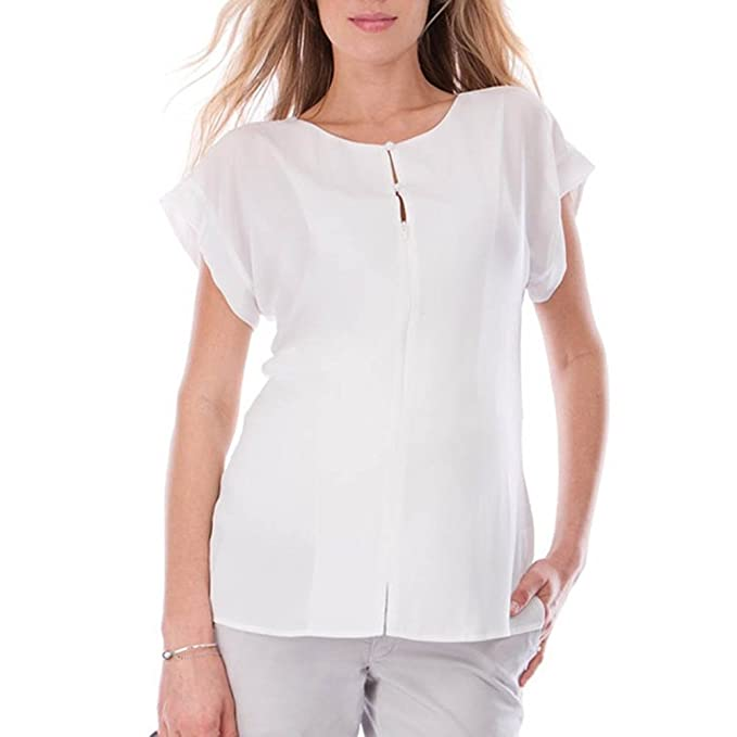 juqilu Casual Manga Corta Mujer Camisas de Maternidad Cremallera Embarazada Blusa enfermería Lactancia Camisa Blanca S