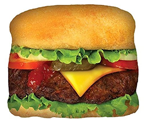 """Price comparison product image iscream Snack Shack Cheeseburger 16.5"""" x 14.5"""" Photoreal Print Microbead Accent Pillow"""