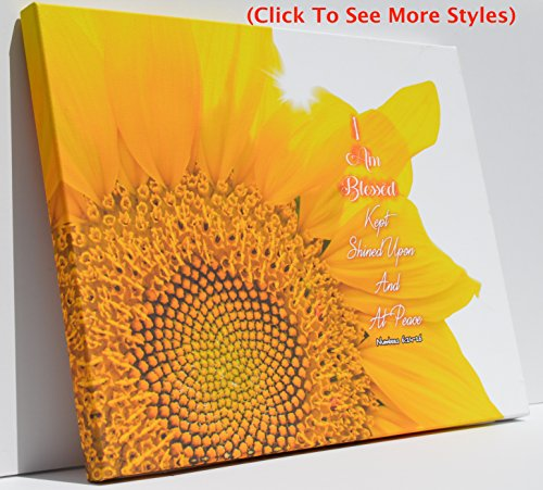 Scripture WALL ART for Wall Decor Printed On Wrapped Canvas WALL ART with Modern Designs Of The Highest Quality INSPIRATIONAL QUOTES WALL ART – 16X12 I Am Blessed Sunflower