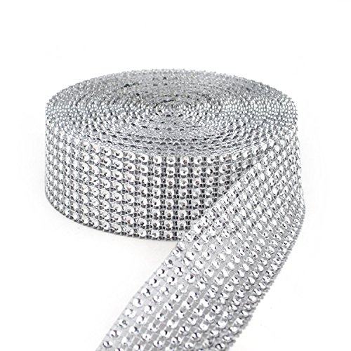 Y&Y Star 10 Yards 30ft 8 Row Silver Diamond Rhinestone Mesh