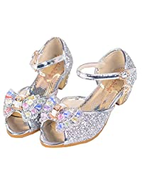 Shiny Toddler Little/Big Kid Cinderella Princess High-Heel Bowknot Dress-up Party Shoes