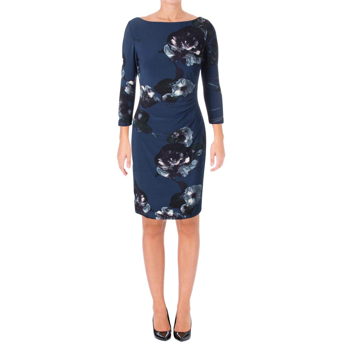 Lauren Ralph Lauren Womens Ruched Side Floral Print Wear to Work Dress bluee 4