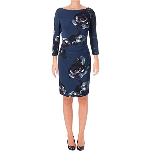 dfb77fe8 Lauren Ralph Lauren Womens Ruched Side Floral Print Wear to Work Dress Blue  2