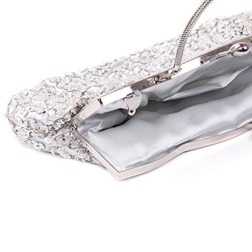 Perlé pochette pour Kisschic sac pochette main Rétro Mariage soirée Argent femme a Sac de Soirée AF1nx5q1