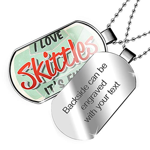 NEONBLOND Personalized Name Engraved I Love Skittles, Vintage Design Dogtag Necklace ()