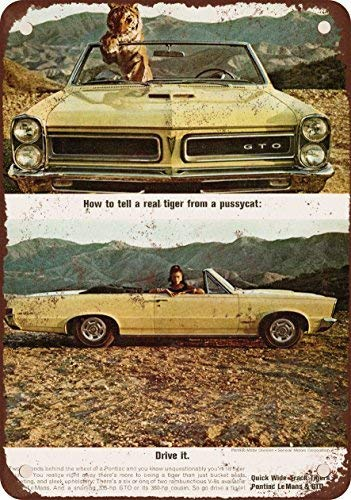 (HTFDS 1965 Pontiac GTO Convertible Vintage Look Reproduction Metal Tin Sign 8x12 inches)