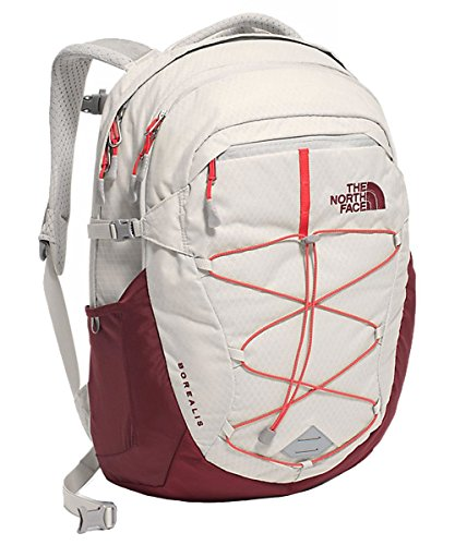 The North Face Women's Borealis Backpack Lunar Ice Grey/Melon Red (Face Buckle)