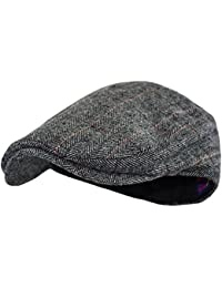 f7a8561e9c0 Men s Classic Herringbone Tweed Wool Blend Newsboy Ivy Hat (Large X-Large