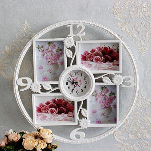 (ZLY DIY Frame Clock,Picture Frame Wall Clock - 4 pcs 6 inch Photo Frames - Modern Design DIY Photo Frame Clock Plastic Art Pictures Clock Home Decor)