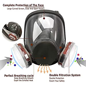 Full Face Respir?tor Reusable, Gas Cover Organic Vapor Respir?tor, Compatible with P100 Filter, Protection for Painting, Machine Polishing, Welding, Same as 6000 7800 FF-400 6000DIN V-Series (Color: Black)