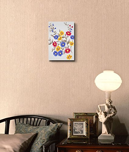Beautiful Colorful Bouquet with Small Red Blue and Yellow Flowers Wall Decor