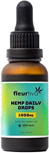 Fleurtiva Hemp Daily Drops | 1000 MG | 100% Vegan Hemp Seed Oil & All Natural Pure Hemp Oil Extract, THC Free | Supports Sleep, Well Being | Helps with Stress, Anxiety & Pain Relief