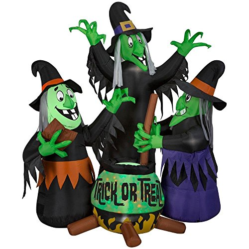 Tamie's Tees And Things Animated Green Face Moving Speaking Witches Caldron 6' Halloween Holiday Yard Decor Inflatable ()
