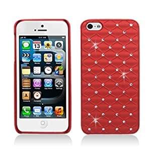 Sparkling Red Rubberized Crystal Wave Surface Design with Spot Diamond Rhinestones Phone Cover Case for Apple iPhone 5