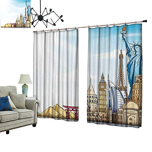 PRUNUS Waterproof Window Curtain World Landmarks 3D Effect R