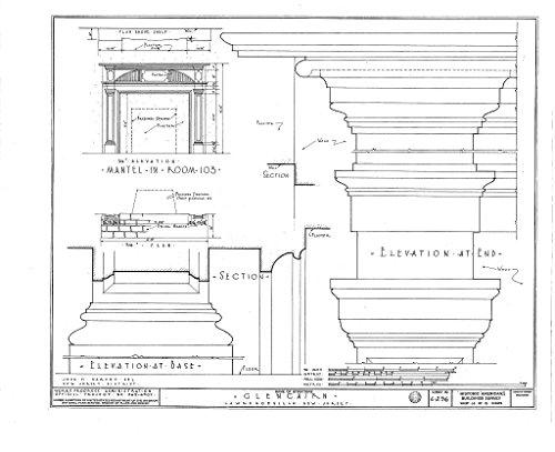Historic Pictoric Blueprint Diagram HABS NJ,11-LAWR.V,1- (Sheet 14 of 15) - Glencairn, Lawrence Road, Lawrenceville, Mercer County, NJ 44in x 32in ()