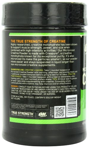 Optimum Nutrition Micronized Creatine Monohydrate Powder, Unflavored, 1200g