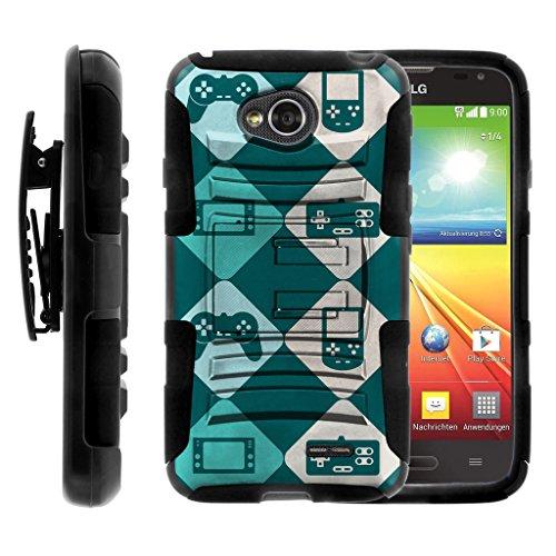 TurtleArmor | LG Optimus L70 Case | LG Ultimate 2 Case | LG Exceed 2 | LG Realm [Hyper Shock] Armor Rugged Hybrid Cover Stand Impact Rubber Belt Clip Video Games Design - Argyle Game (Argyle Clip)