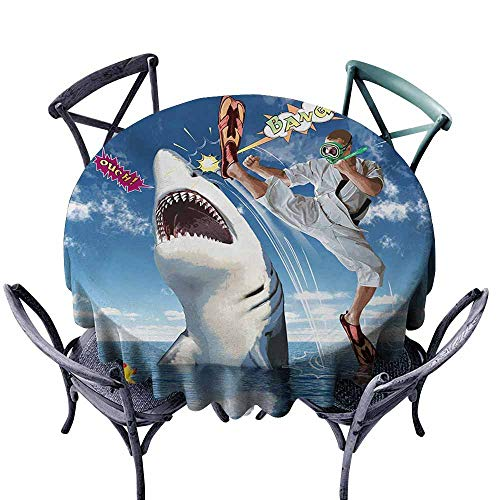 VIVIDX Round Tablecloth,Sealife,Unusual Marine Navy Life Animals Fish Sharks with Karate Kid and Comics Balloon Art,Party Decorations Table Cover Cloth,60 INCH,Multicolor