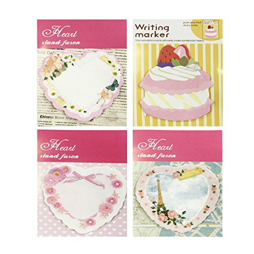 Wrapables Sweet Heart Memo Sticky Notes (Set of 4) ()