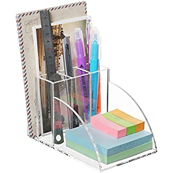 Premium Clear Acrylic Desktop Office Supplies Organizer w/ Post It Note Pad Holder, Mail Storage & 3 Pencil Slots