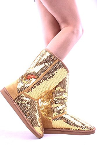 Gold Sequin Boots (Ositos SEQUIN FAUX FUR MID LENGTH BOOTS Shoes 9 gold)