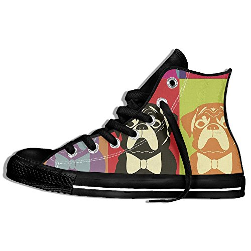 Classiche Sneakers Alte Scarpe In Tela Antirumore Per Cani Ritratti Casual Da Passeggio Per Uomo Donna Nero