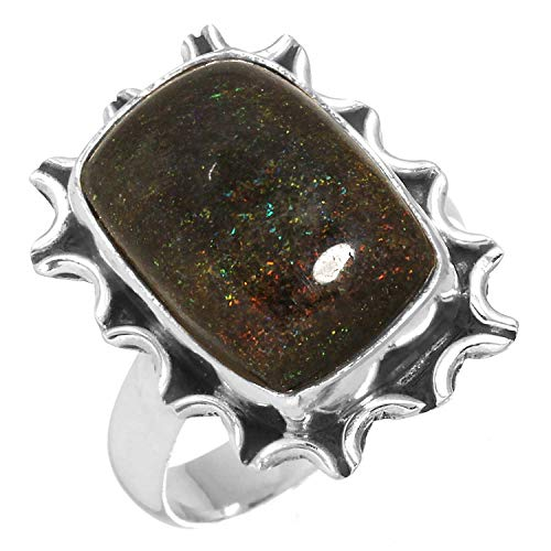 Natural Honduran Black Matrix Opal Gemstone Ring Solid 925 Sterling Silver Women Jewelry Size 5
