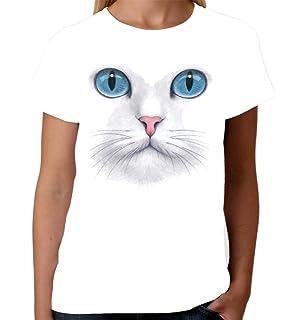 Velocitee Ladies Long Sleeve T-Shirt Yellow Eyes Cat Face Fashion Feline A7268