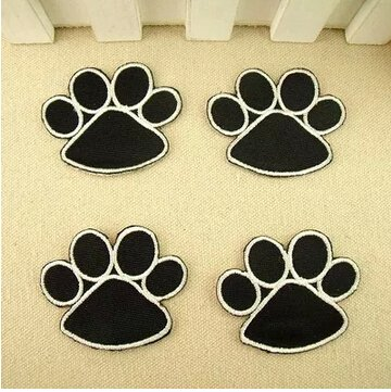 The bestdeal Lovely Paws Design Iron on Patches (4PCS Black Color)