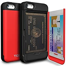iPhone SE Case, TORU [iPhone SE Wallet Case Red] Protective Slim Fit Dual Layer Hidden Credit Card Holder ID Slot Card Case with Mirror for iPhone SE / iPhone 5S / iPhone 5 - Red