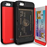 iPhone 5 Case, TORU [CX PRO] iPhone SE Wallet Case - [CARD SLOT][ID HOLDER][KICKSTAND] Protective Hidden Wallet Case with Mirror for iPhone 5/5S/SE - Red
